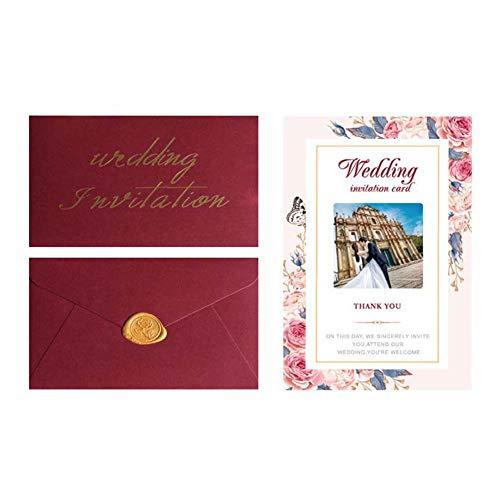 JXS-Wedding Invitación de Boda con sobre, Corte por láser, Proceso de Estampado en...