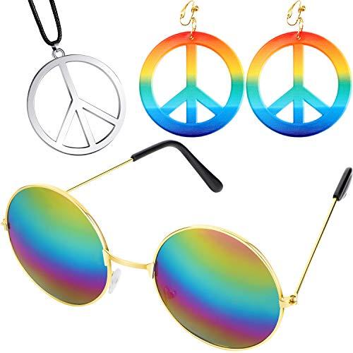 meekoo 60s 70s Set de Accesorios de Aderezo para Hippie, Incluye Aretes y Collares con el...