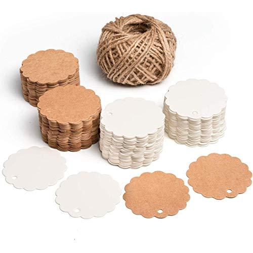 SuMile Etiquetas de regalo de Papel Kraft,Colgante de regalo redondo 200 piezas y Yute...
