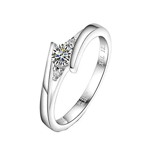 Bishilin Anillos Mujer Pt900 Alianza de Platino, Diamante Redondo de 0.2ct Anillos de...
