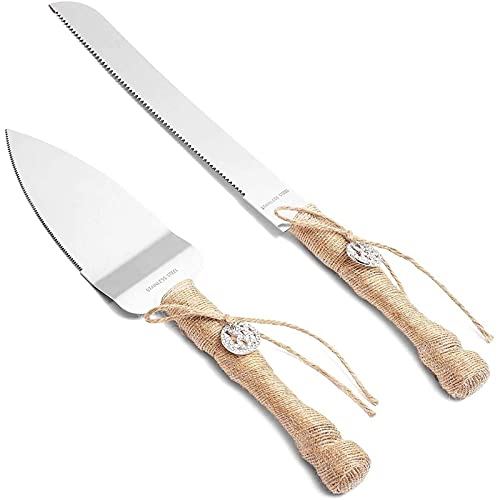 Juego de cuchillos y servidor para tarta de boda rústica (2 piezas)