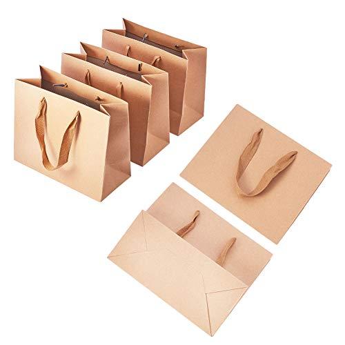 PandaHall - Paquete de 10 Bolsas de Papel Kraft para la Compra, Bolsas de Papel con Asas,...