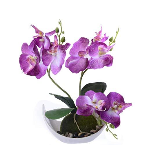 Flikool 3 Ramas Orquídeas Artificiales con Maceta in Plástico Bonsai de Phalaenopsis...