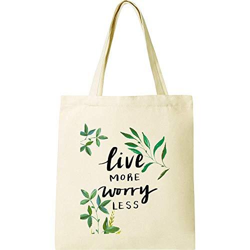 CUNYA Bolsa de lona personalizable, de 38 x 40 cm, reutilizables, con flores, impresión...