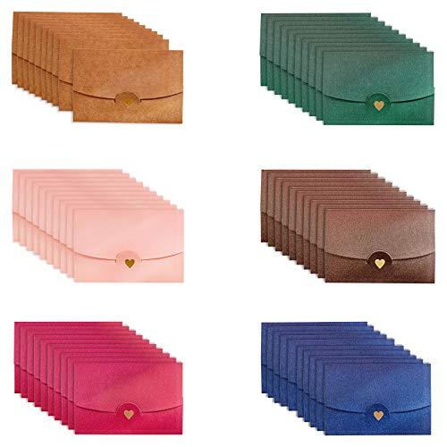 Bgfuni 60 Piezas Mini Sobres, Sobres de Colores, 6 Colores Multicolor Pequeños Sobres...