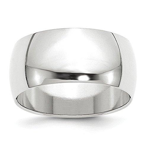 Diamond2Deal Alianza de boda media redonda de oro blanco de 14 quilates de 10 mm para...
