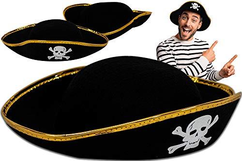 Trendario Sombrero de pirata para niños, ideal como disfraz de carnaval, para hombre y...