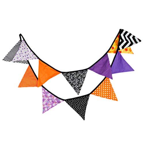 LIOOBO 320x17cm Happy Halloween Banderín Banner Poliéster y algodón Tejido Halloween...