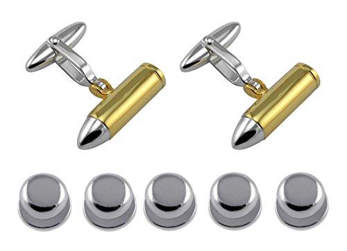 Sterling Silver Bullet Visten Camisa Gemelos chapados en Oro espárragos Set de Regalo