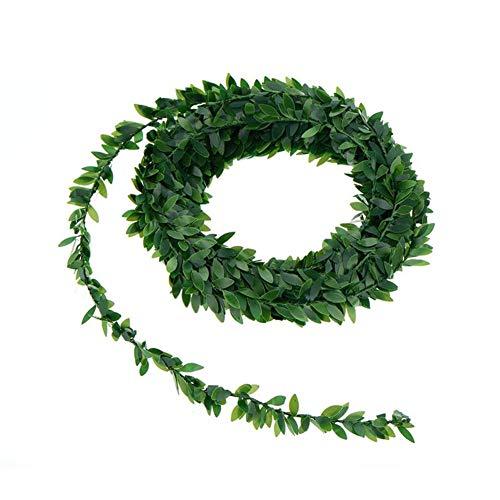 Guirnalda de hojas verdes artificiales de seda, hojas de enredadera falsa, decoración de...