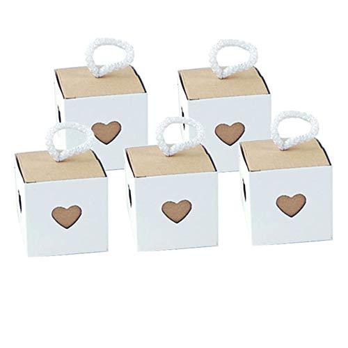Kingsley 50 pcs Kraft Papel Corazón Cajas Decoración Vintage para Cajas Regalo con...