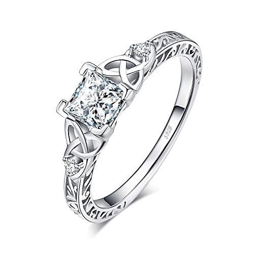 JewelryPalace Nudo Celta Anillos Mujer Plata Diamante Simulado, Anillos de Compromiso...