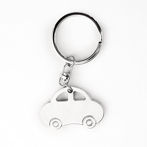 Llavero – Diseño de coche – Acero inoxidable cromado brillante – Diseño práctico...