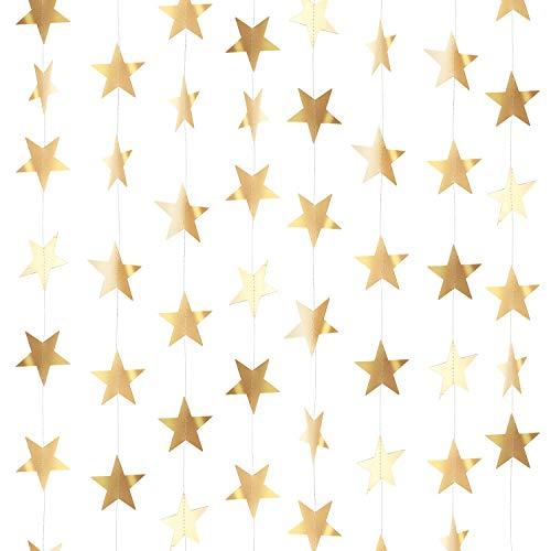 130 Pies Guirnalda de Papel de Estrellas Brillantes Dorados Decoración Colgante para...