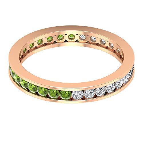 Anillo de eternidad de peridoto de 0,80 ct certificado de 2 mm, antiguo anillo de alianza...
