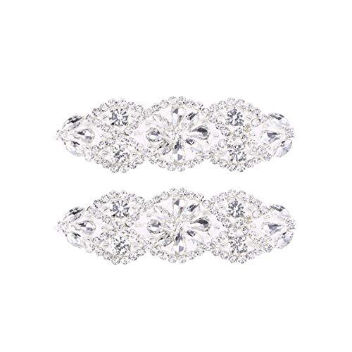 Apliques nupciales de 2 piezas Apliques de diamantes de imitación transparentes, Correa...