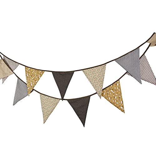 YUIP Banderines de tela de 3,3 m con 12 banderines triangulares de doble cara vintage,...