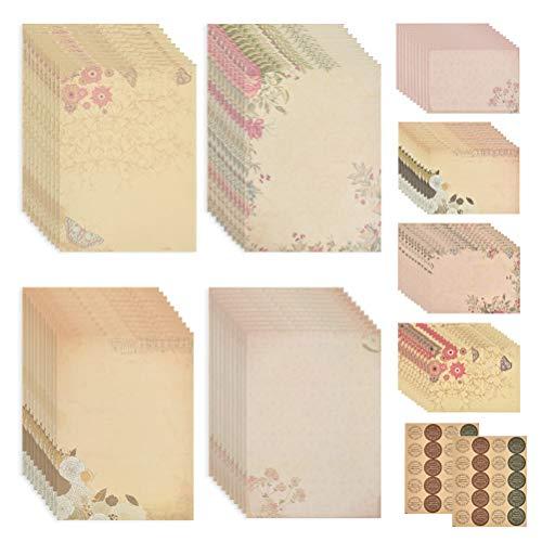 Juego de 80 hojas de papel de carta vintage, papel de escritura con motivo de papel de...
