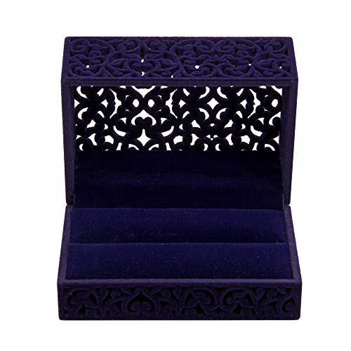 Gossipboy Caja de Regalo Hollow Sapphire Blue Wedding Ring/Terciopelo Ring Bearer...