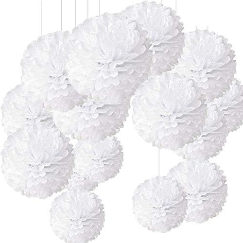 Pompon de Papel de Seda, Blanco Bolas de Papel en Forma de Flor para Fiestas de...