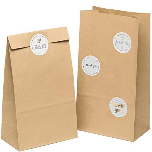 kgpack 50x Bolsas de papel kraft DIY Con pegatinas THANK YOU 14 x 26 x 8 cm | Bolsas de...