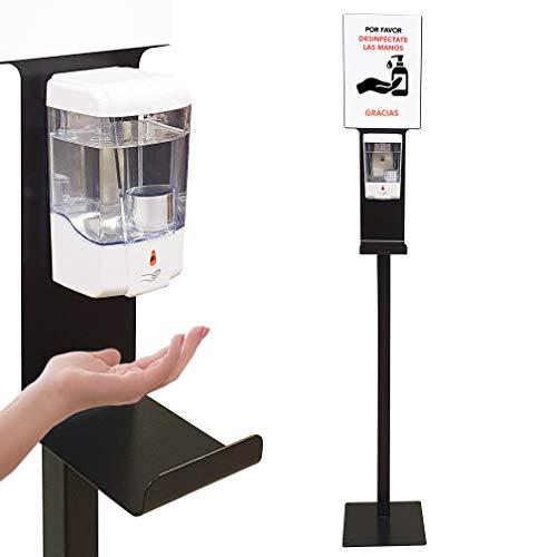 Dispensador de Gel Desinfectante de Manos Automático con Soporte de Pie con Cartela A4 y...