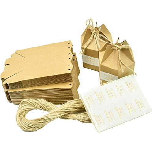 Wandefol 50pcs Caja Kraft de Regalo, Caja de Papel con Cuerda de Yute, Cajitas Kraft con...