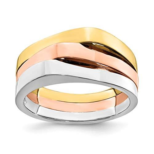Banda superior triple de oro de 14 quilates, tricolor, talla N 1/2