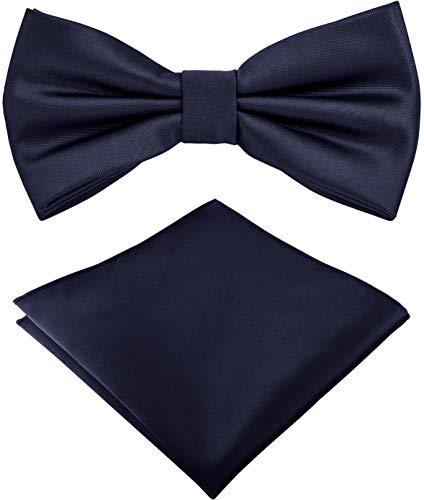 Helido Pajarita con pañuelo de bolsillo para Hombre + caja de regalo (Azul oscuro)