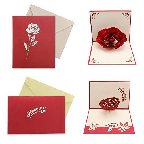 HOWAF 2 Piezas Tridimensional Tarjeta de San Valentín, Pop-up Tarjeta de felicitación...