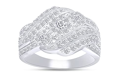 Anillo de compromiso de 1 quilate con diamante natural de tres piedras en forma redonda en...