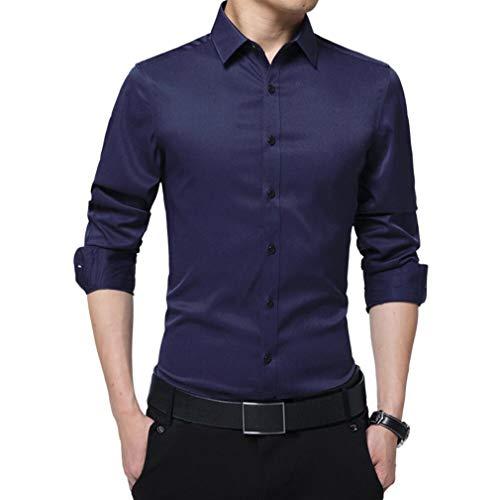 Irypulse Camisa de Hombres Corte Cuello Camisa de Planchado sin Arrugas Manga Larga...