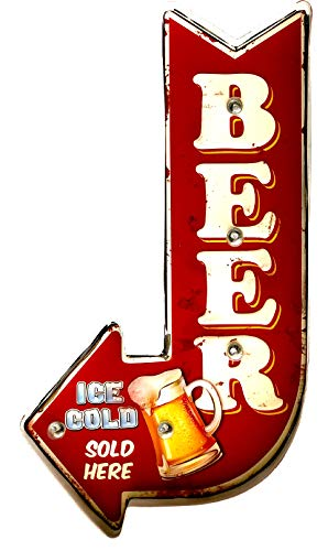 DiiliHiiri Cartel Retro Luminoso Cerveza Bar Vintage Letrero Metálico Artesania...