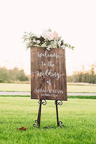 Yilooom Cartel de madera de bienvenida de boda, señal de bienvenida de boda, cartel de...