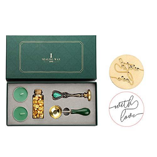 LaceDaisy Kit de Sello de Cera Kit de Sellado Retro con Caja de Regalo Sello Perlas de...