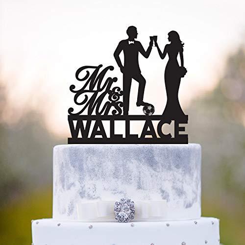 Adorno para tarta de Mr y Mrs jugadores de fútbol para decoración de tartas con texto en...