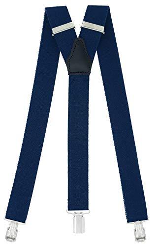 Xeira - Tirantes para hombre con 3 clips extra fuertes 35 mm de ancho Azul Oscuro - 104
