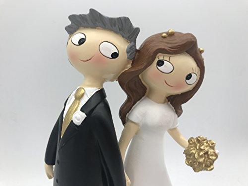 Y337MD - Figura para tarta de bodas de oro, 50 aniversario, cogidos de la mano. 21,5cm,...