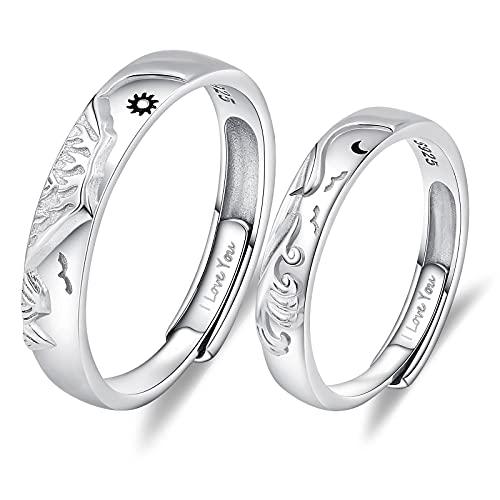 AnazoZ Anillo de compromiso, alianza de plata 925, montaña y mar sol y luna, anillo...