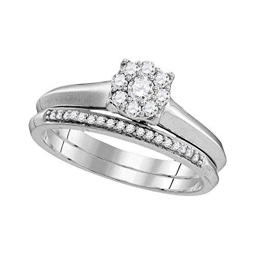 Jewels By Lux Anillo de Compromiso de Oro Blanco de 10k para Mujeres 9