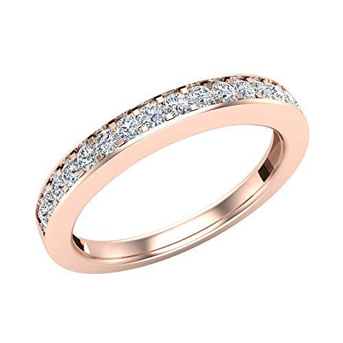 Alianza de diamantes a juego con el anillo de bodas de ilusión cuádruple de corte...
