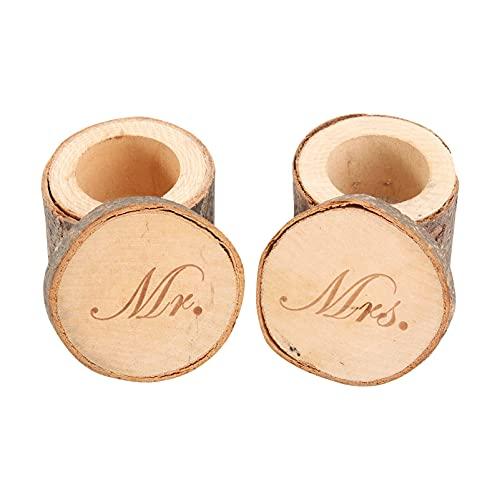 ULTNICE - Caja de anillo de madera - Alianzas de boda - «Mr», «Mrs» (2piezas)