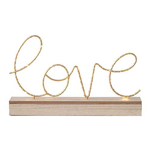 Luces luminosas de letras LED, con pilas Luces iluminadas de madera Decorativas de amor...