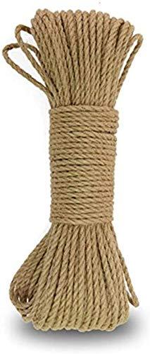 N/X Cuerda de cáñamo 5 mm, Cuerda de Yute Gruesa Natural de 3 Capas de 20 m,para...