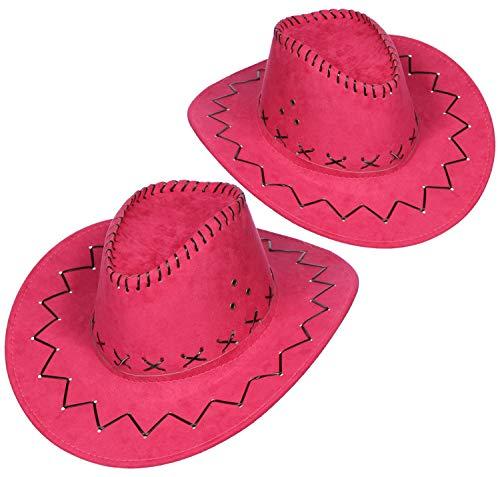 com-four® conjunto de sombreros de 2 piezas para vaqueros - sombrero occidental en rosa -...