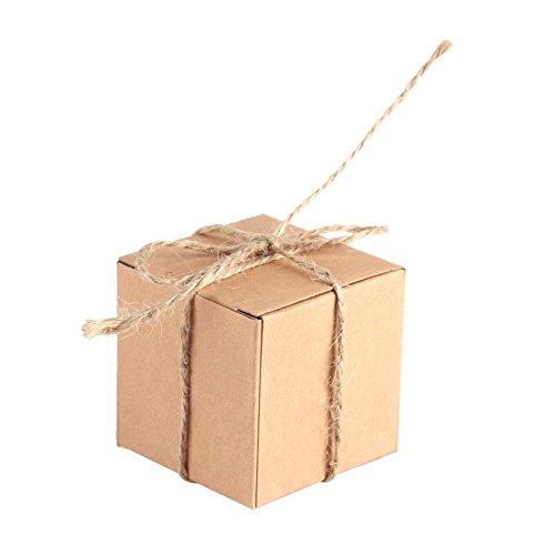 Caja de Papel Kraft de 50 Piezas Marrón, Rectángulo Caja de Regalo de Regalo de Boda con...