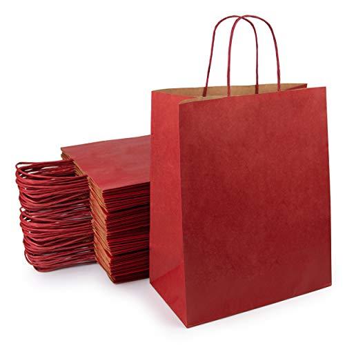 Extiff – Lote de bolsas de papel kraft marrón con asas, bolsa de la compra, embalaje de...