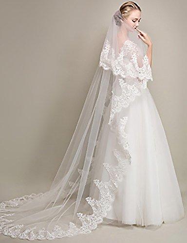 Zoestar Velo de novia de encaje de 2 niveles blanco velo de boda capilla accesorios de...