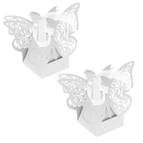 50 cajas de caramelos de boda de color blanco, para instalación de rastrillos, cortadas...