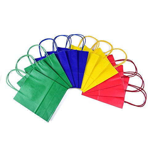 24 sacs-cadeaux en papier kraft - Avec poignée - 4 couleurs différentes